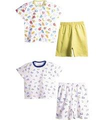 kit pijama peixinho dourado diversã£o e aviaã§ã£o branco - branco - menino - dafiti