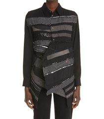 junya watanabe mixed media button-up shirt, size small in black at nordstrom