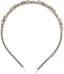 dolce & gabbana logo-embellished headband - silver