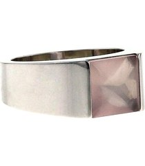 cartier 2000s pre-owned 18kt white gold tank medium ring - white, pink