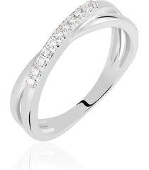 anello in oro bianco e diamanti 0,08 ct per donna