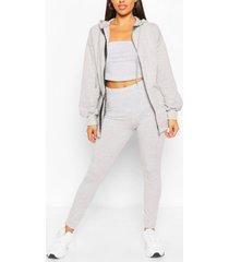three piece hoodie legging and bandeau set, grey marl