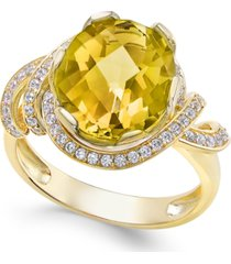 citrine (4-1/4 ct. t.w.) and white topaz (1/3 ct. t.w.) ring in 14k gold-plated sterling silver