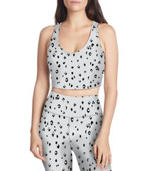 sage collective women's diamon cheetah-print sports bra - white black print - size m