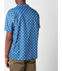 ymc men's malick dot short sleeve shirt - blue/ecru - l