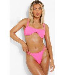 geribbeld string bikini broekje, pink
