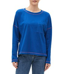 women's michael stars reece contrast stitch long sleeve top, size small - blue