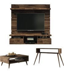 painel tv livin 1.6 com mesa de centro lucy e aparador quad deck - hb móveis