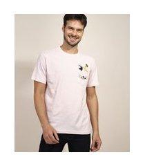 camiseta masculina frajola e piu piu com bolso manga curta gola careca rosa claro