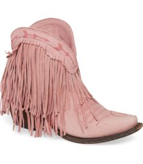 women's lane boots x junk gypsy spitfire fringe bootie, size 6 m - pink