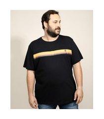 camiseta masculina plus size com listras manga curta gola careca preta