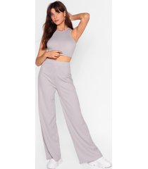 womens top and wide-leg pants set - grey