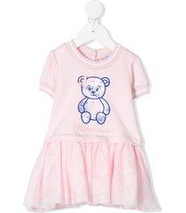 monnalisa floral teddy dress - pink