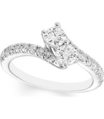 diamond two stone bypass ring (1 ct. t.w.) in 14k white gold
