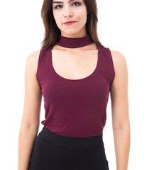 blusa moda vãcio regata gola alta com decote vinho - vinho - feminino - algodã£o - dafiti