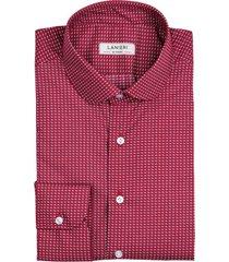 camicia da uomo su misura, canclini, optical rossa, quattro stagioni | lanieri