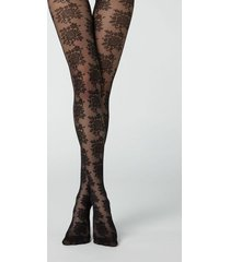 calzedonia floral pattern 40 denier tulle tights woman black size xl