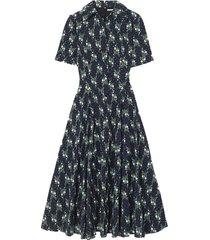 floral-print swiss-dot cotton-seersucker midi dress