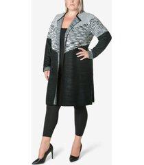 adrienne vittadini women's plus size sweater knit coatigan