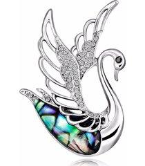 dolce cigno spilla d'argento ali cave strass gioielli in lega colthing accessori per le donne