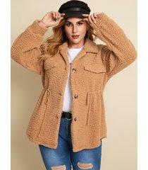 abrigo de manga larga con cordón y diseño de botones de talla grande yoins