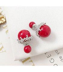 orecchini a lobo orecchio dolce perle rotonde con perle e zirconi s925 gioielli in argento per le donne