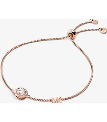 mk braccialetto con cursore in argento sterling con placcatura in metallo prezioso aureola e pavé - oro rosa (oro rosa) - michael kors