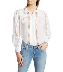 frame women's panel lace button-up shirt - noir - size xs
