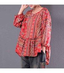 zanzea moda tops camisa con volantes plisados de las mujeres del cuello de o floral manga larga blusa -rojo