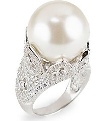 silvertone, mother-of-pearl gumball & cubic zirconia tulip statement ring