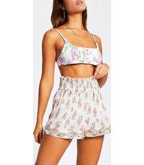 river island womens cream floral embellished shirred waist shorts