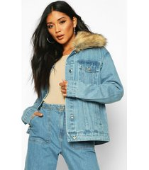 faux fur collar jean jacket, mid blue