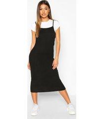 2 in 1 t-shirt midi slip dress, black