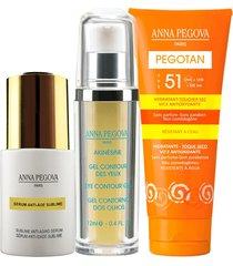 kit coffret illuminé anna pegova - sérum anti-idade sublime 25ml +  gel para contorno dos olhos akinesine 12ml + protetor solar facial fps51 - 50g