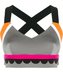 no ka' oi top esportivo color block - cinza