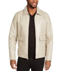 inc men's harrington faux leather embossed jacket, created for macy's