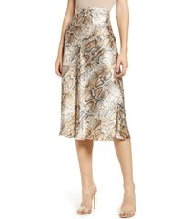 women's vero moda christas satin midi skirt, size large - beige