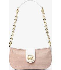 mk borsa a spalla carmen extra-small in pelle stampa coccodrillo bicolore - rosa tenue cangiante (rosa) - michael kors
