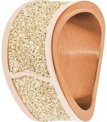 anello in acciaio rosé, lurex hollywood sand e cristalli per donna