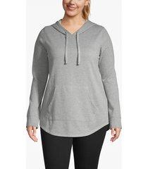 lane bryant women's active metallic hooded sweatshirt 18/20 heather gray