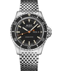 mido ocean star tribute automatic watch, 40.5mm in silver/black/silver at nordstrom