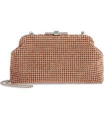 reiss adaline crystal embellished frame clutch - pink