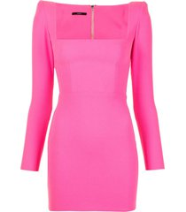 alex perry aaron square-neck mini dress - pink