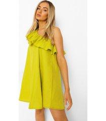 geweven jurk met eén blote schouder en ruches, lime