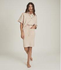 reiss jia - jersey midi skirt in blush, womens, size xl