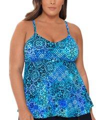 swim solutions plus size santorini printed underwire tankini top, created for macy's women's swimsuit