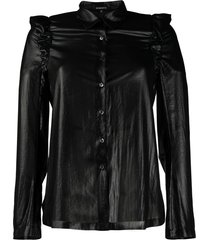 ann demeulemeester faux leather ruffle shirt - black