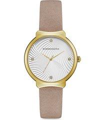 bcbgmaxazria women's classic goldtone stainless steel leather-strap watch