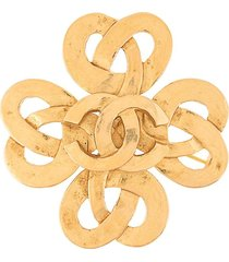 chanel pre-owned 1997 spring intertwined cc brooch - gold