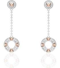 orecchini pendenti con farfalle oro rosa e strass per donna